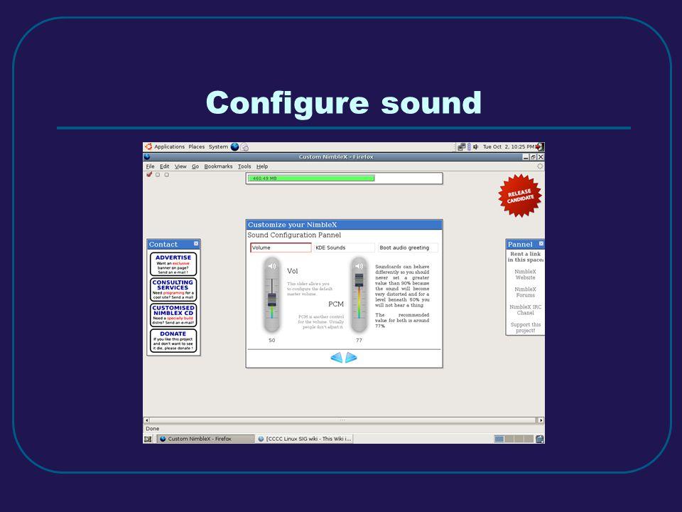 Configure sound