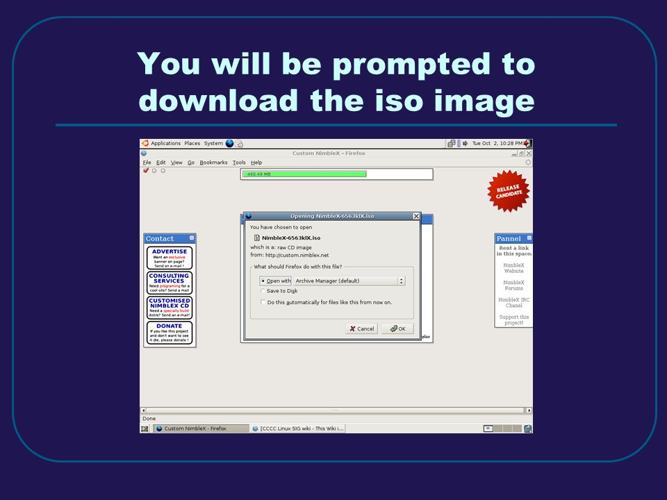 You will be prompted to download the iso image