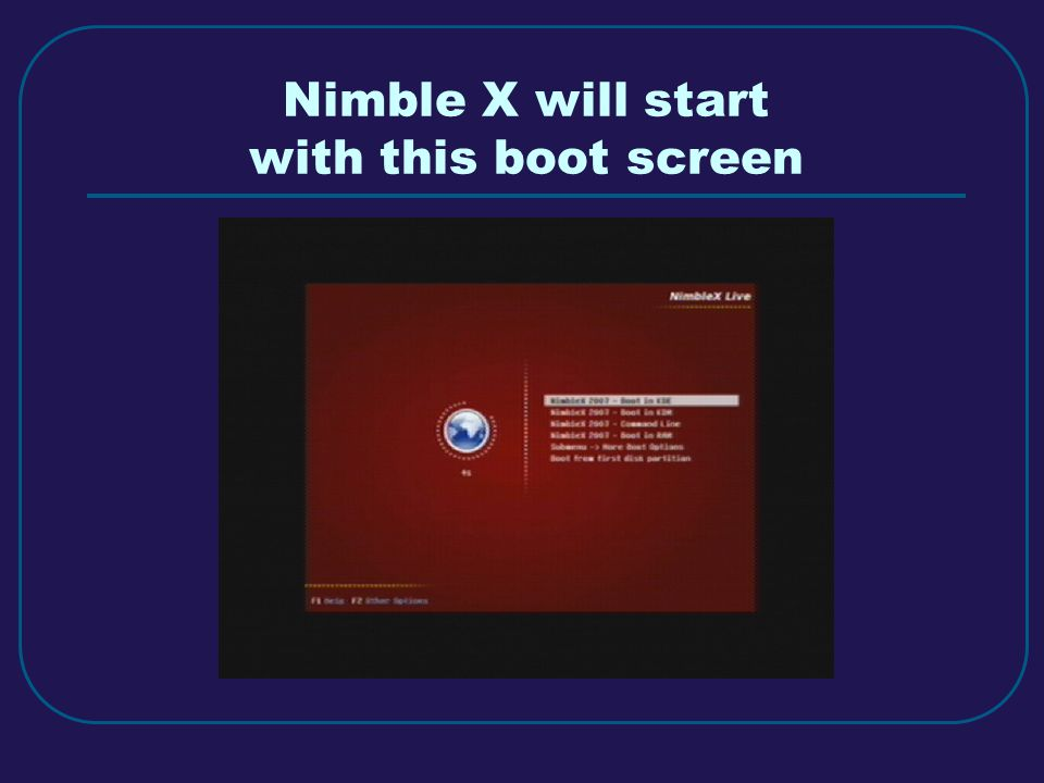 Nimble X will start with this boot screen