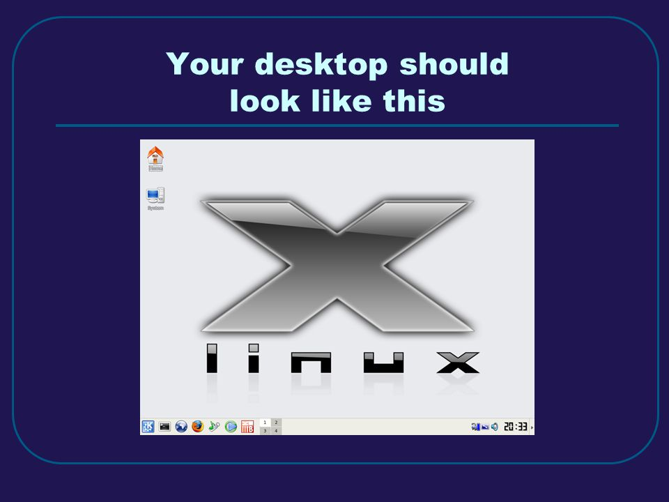 Your desktop should look like this