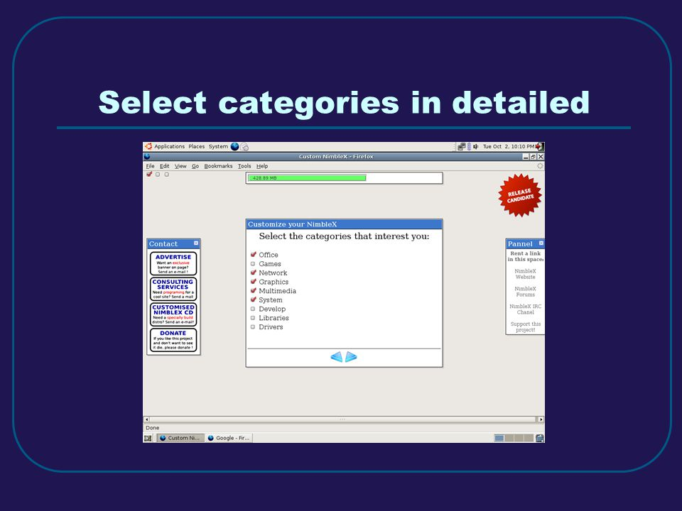 Select categories in detailed