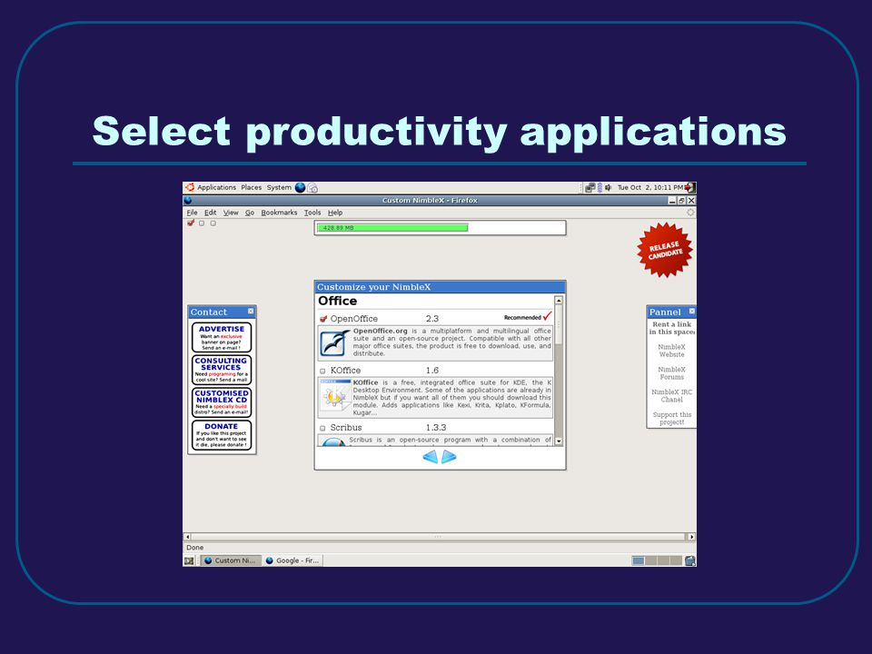 Select productivity applications