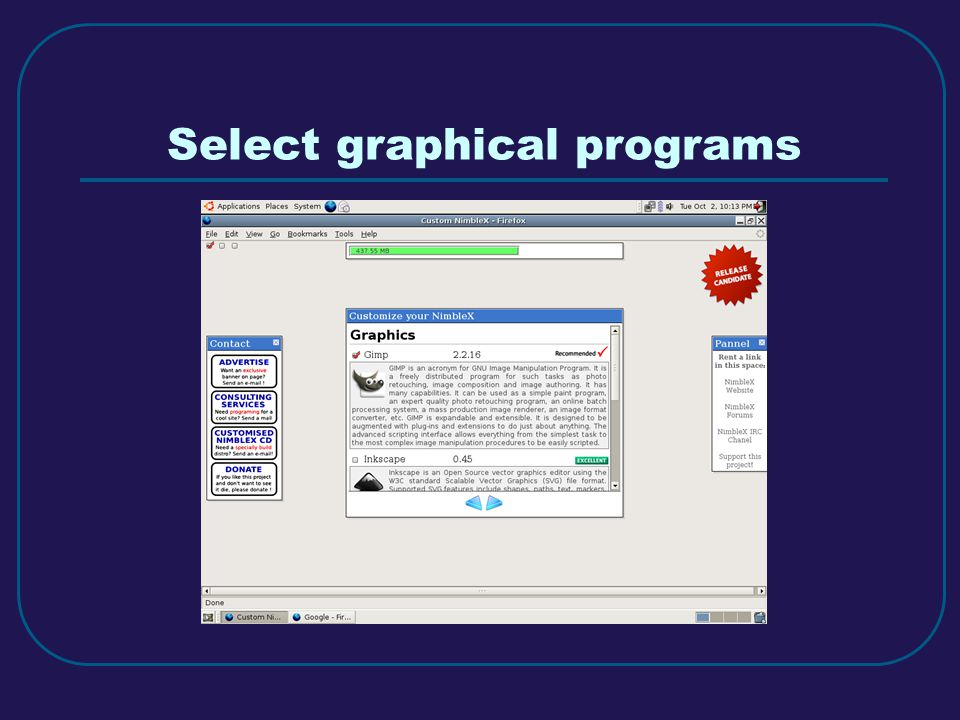 Select graphical programs