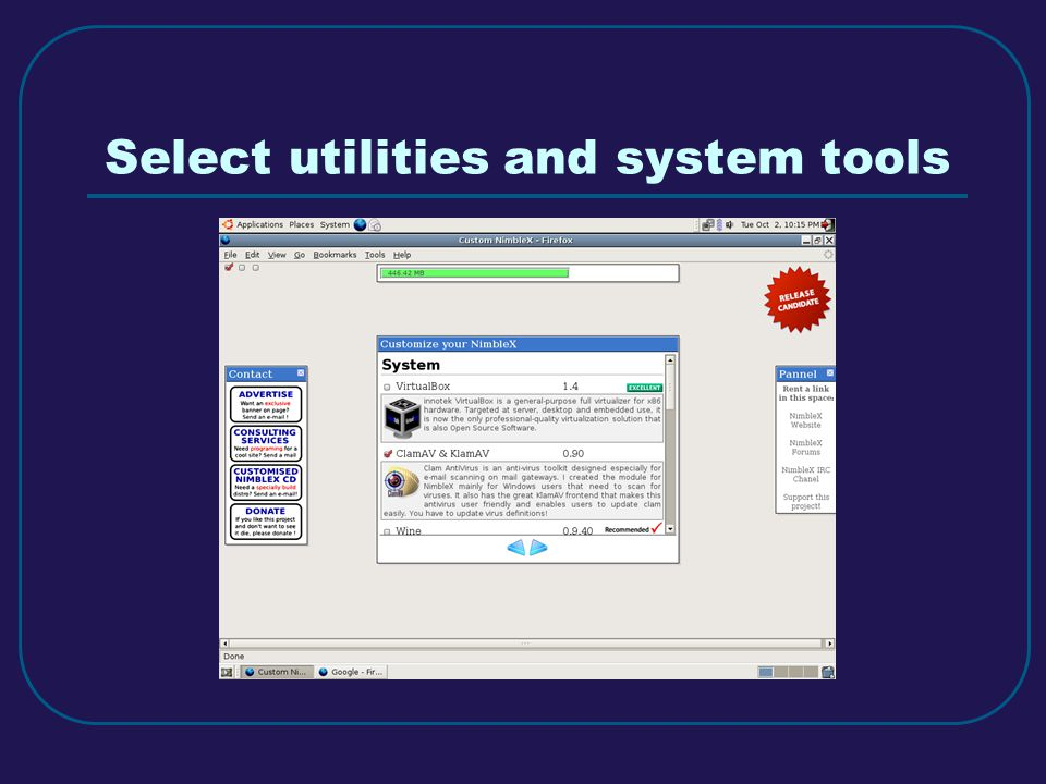 Select utilities and system tools