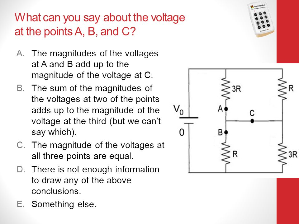What can you say about the voltage at the points A, B, and C