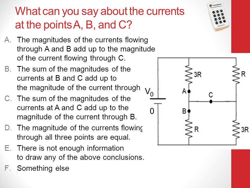 What can you say about the currents at the points A, B, and C