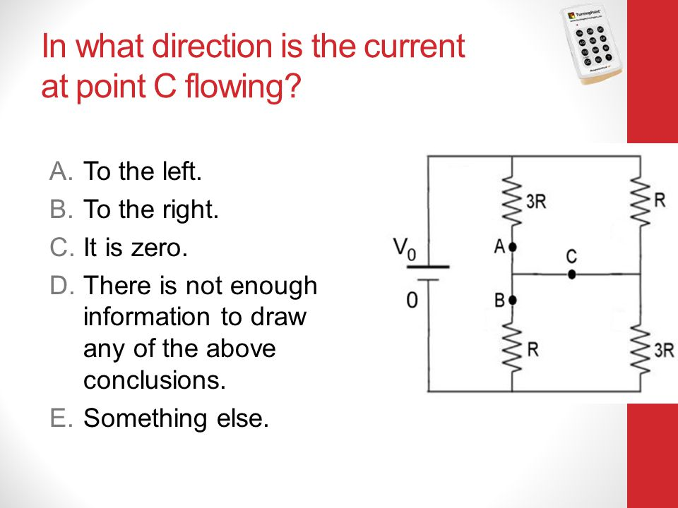 In what direction is the current at point C flowing