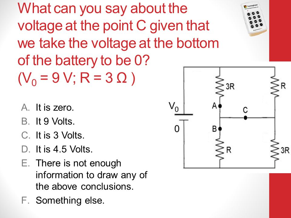 What can you say about the voltage at the point C given that we take the voltage at the bottom of the battery to be 0 (V0 = 9 V; R = 3 Ω )