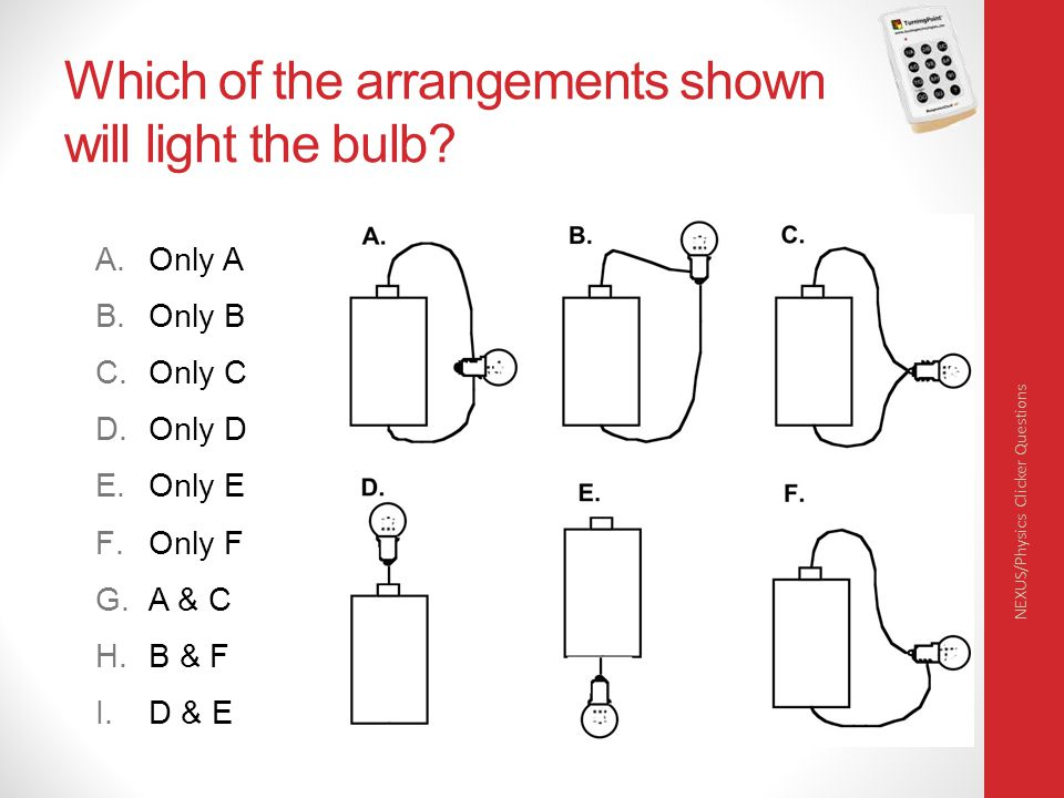 Which of the arrangements shown will light the bulb