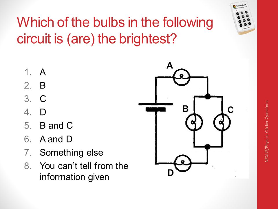 Which of the bulbs in the following circuit is (are) the brightest