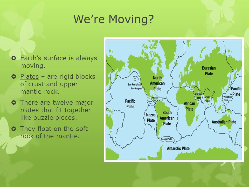 We're Moving Earth's surface is always moving.