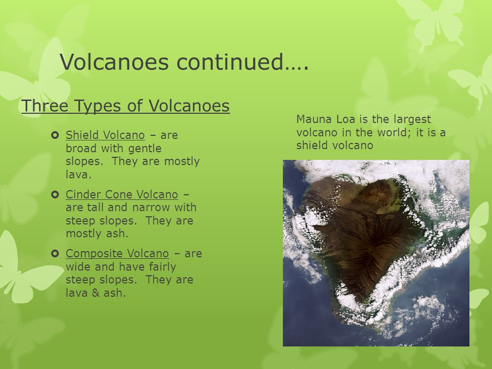 Volcanoes continued…. Three Types of Volcanoes