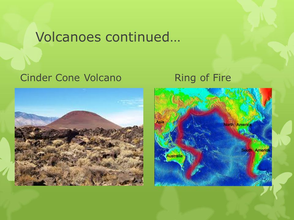 Volcanoes continued… Cinder Cone Volcano Ring of Fire