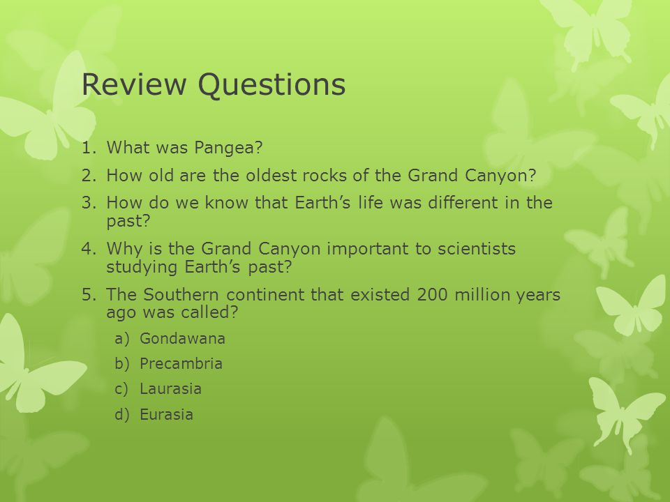 Review Questions What was Pangea