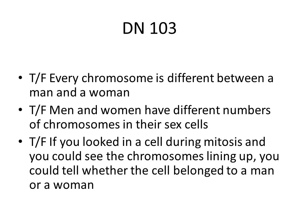 DN 103 T/F Every chromosome is different between a man and a woman