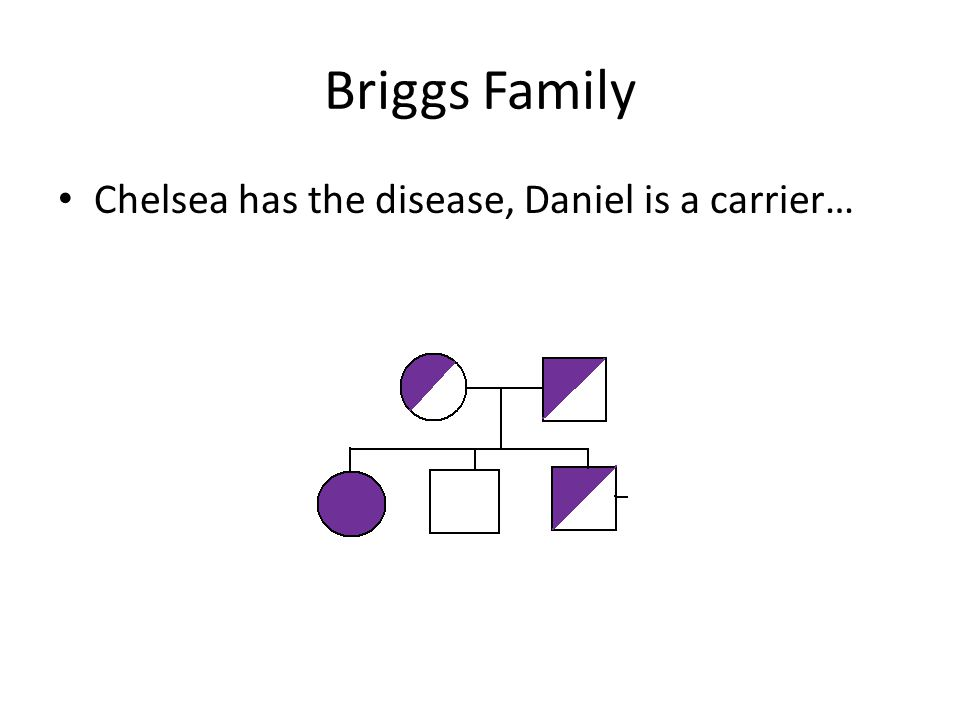 Briggs Family Chelsea has the disease, Daniel is a carrier…