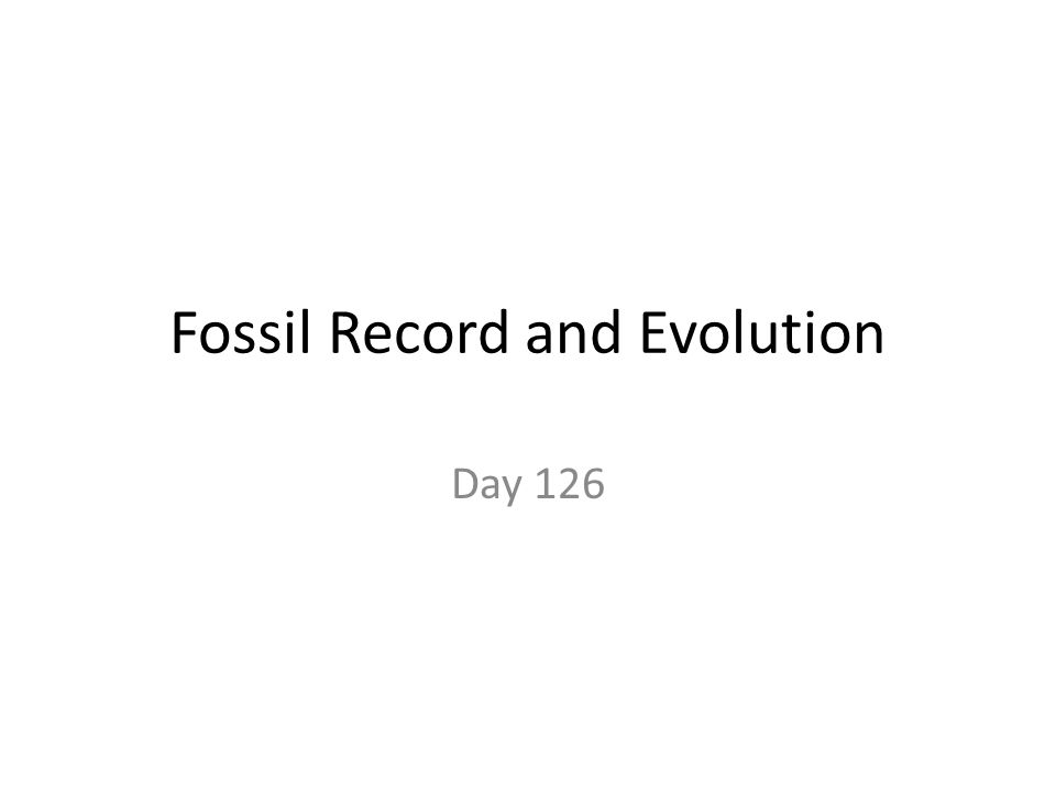 Fossil Record and Evolution