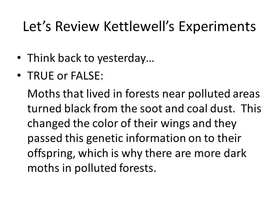 Let's Review Kettlewell's Experiments