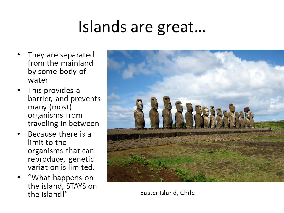 Islands are great… They are separated from the mainland by some body of water.