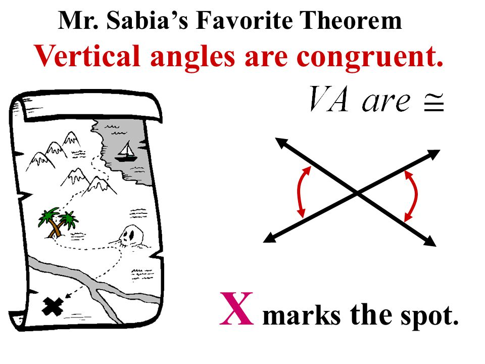 X marks the spot. Vertical angles are congruent.