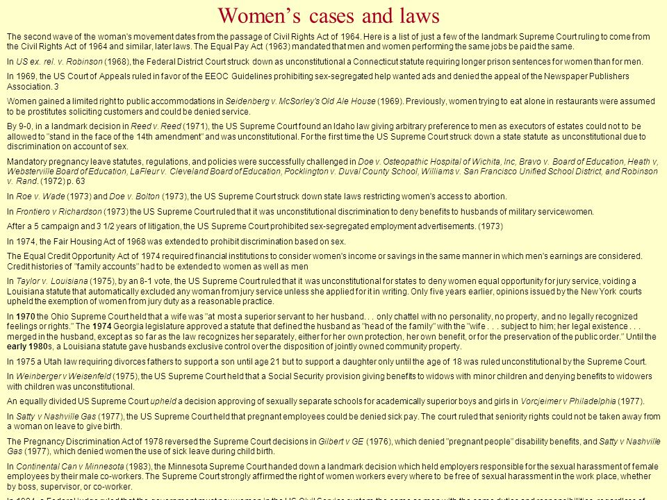 Women's cases and laws