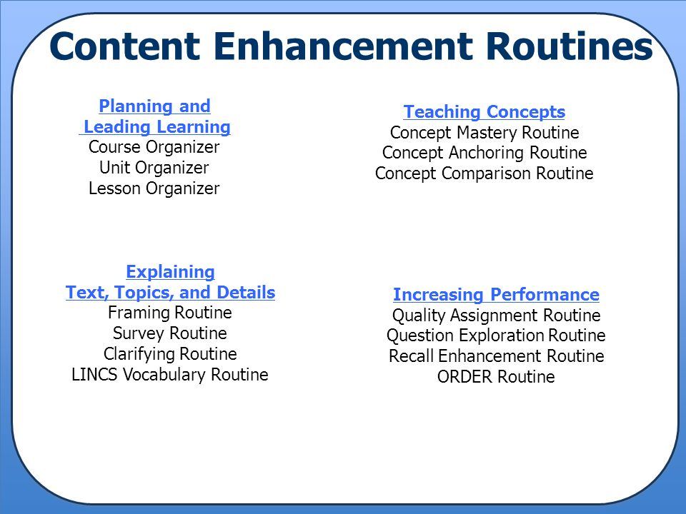 Content Enhancement Routines Increasing Performance