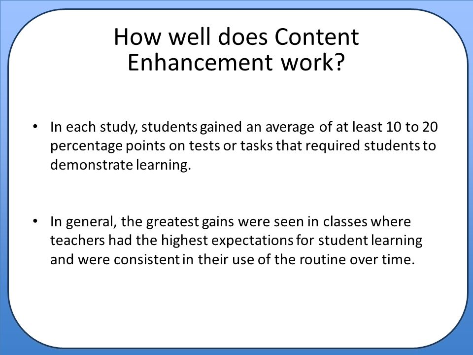 How well does Content Enhancement work