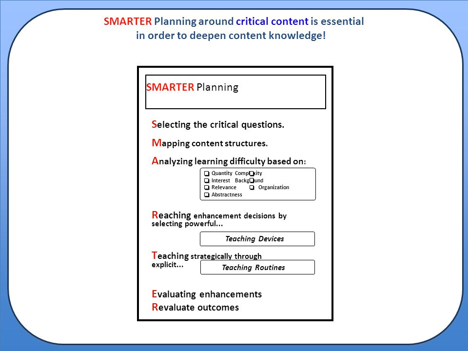 SMARTER Planning around critical content is essential