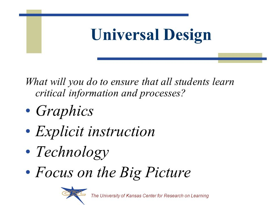 Universal Design Graphics Explicit instruction Technology