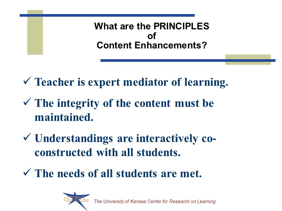 What are the PRINCIPLES of Content Enhancements