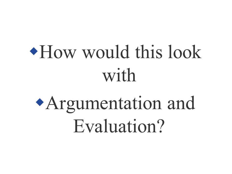 How would this look with Argumentation and Evaluation