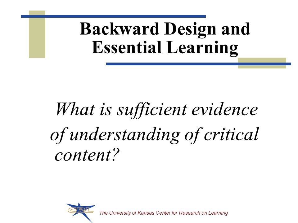 Backward Design and Essential Learning