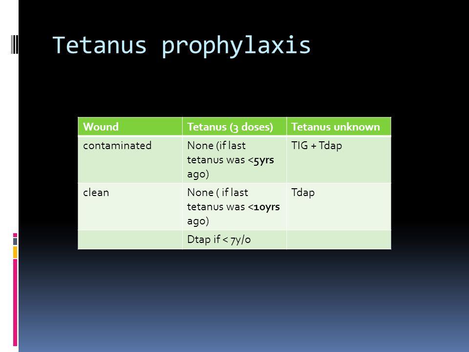 Tetanus prophylaxis Wound Tetanus (3 doses) Tetanus unknown