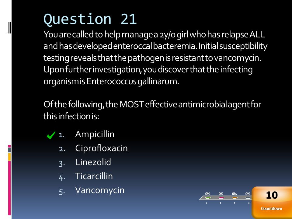 Question 21 You are called to help manage a 2y/o girl who has relapse ALL and has developed enteroccal bacteremia. Initial susceptibility testing reveals that the pathogen is resistant to vancomycin. Upon further investigation, you discover that the infecting organism is Enterococcus gallinarum. Of the following, the MOST effective antimicrobial agent for this infection is: