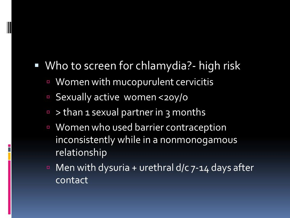 Who to screen for chlamydia - high risk
