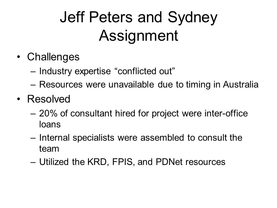 Jeff Peters and Sydney Assignment