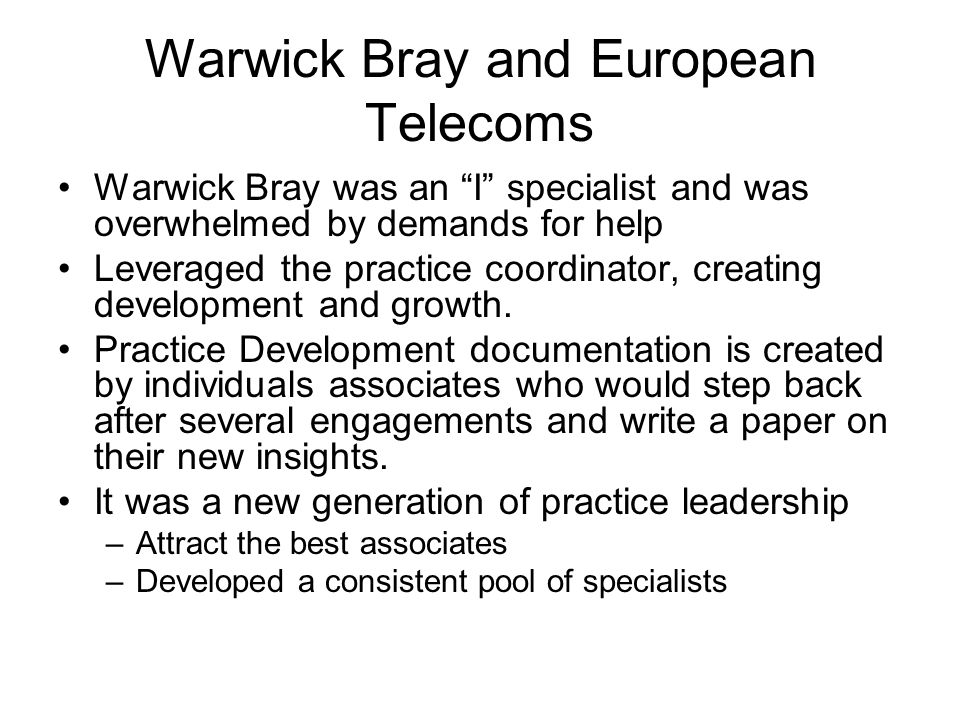 Warwick Bray and European Telecoms
