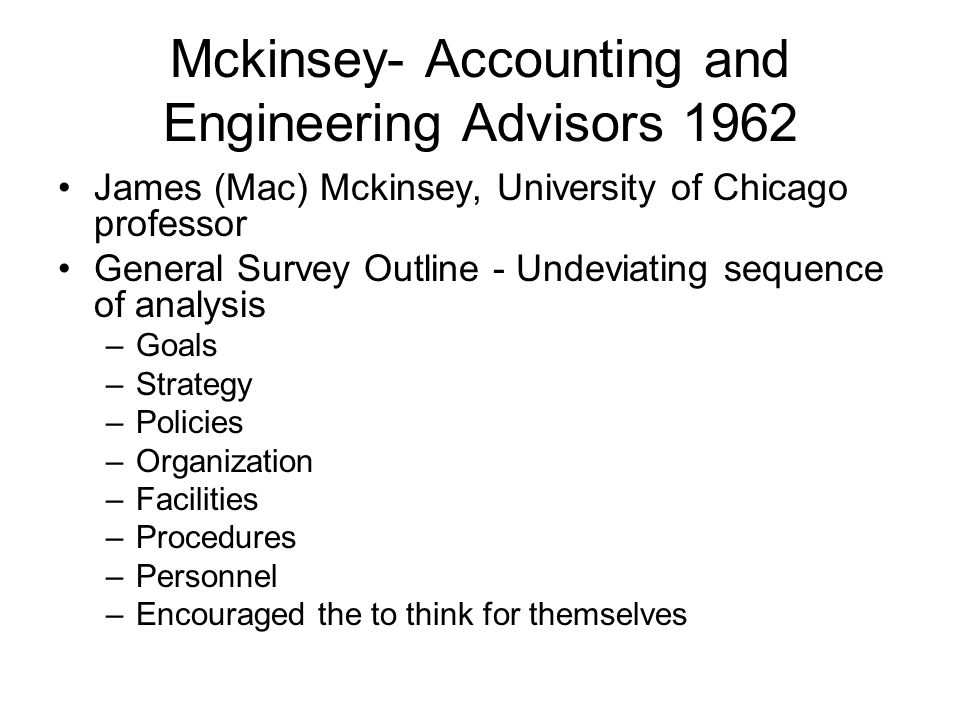 Mckinsey- Accounting and Engineering Advisors 1962