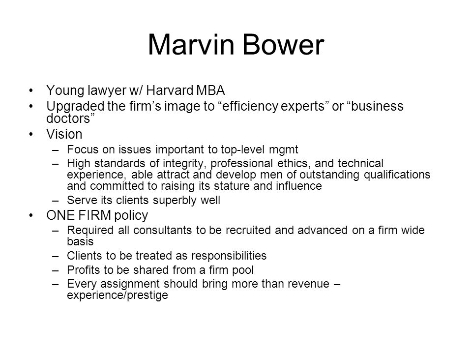Marvin Bower Young lawyer w/ Harvard MBA