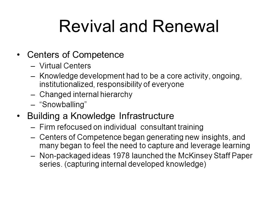 Revival and Renewal Centers of Competence