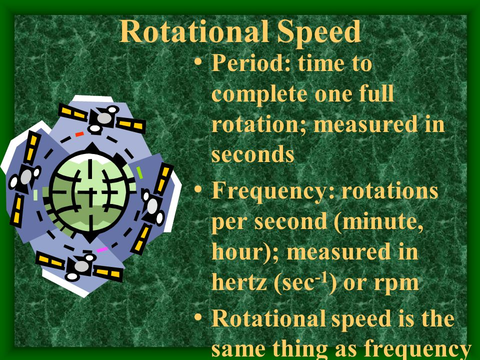 Rotational Speed Period: time to complete one full rotation; measured in seconds.