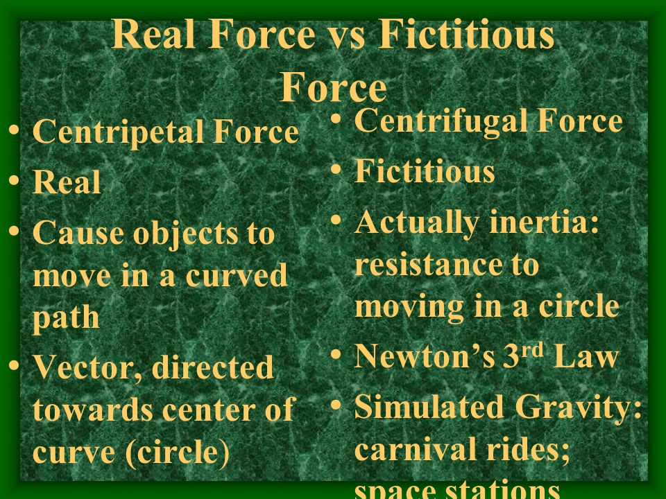 Real Force vs Fictitious Force