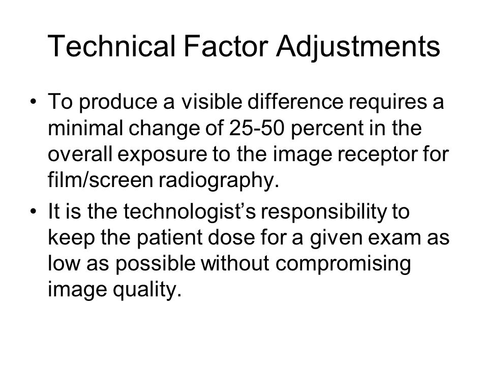 Technical Factor Adjustments