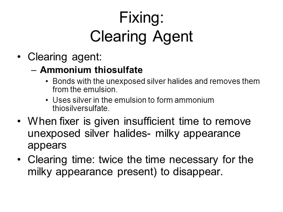 Fixing: Clearing Agent