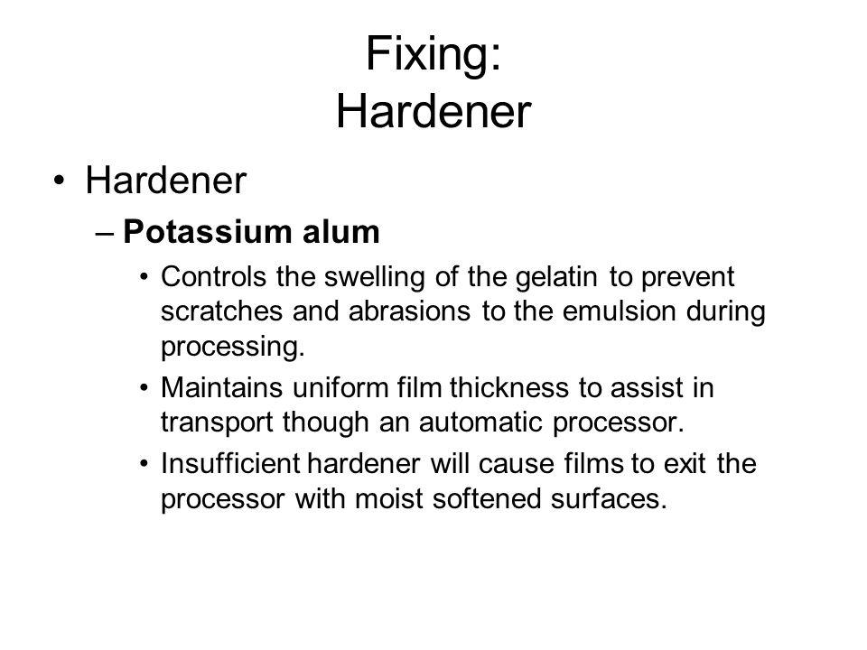 Fixing: Hardener Hardener Potassium alum