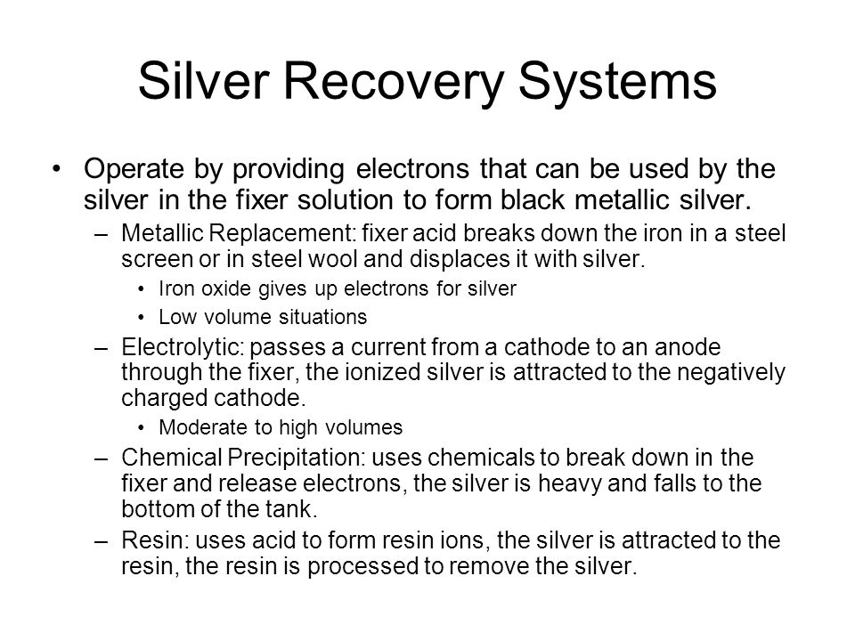 Silver Recovery Systems
