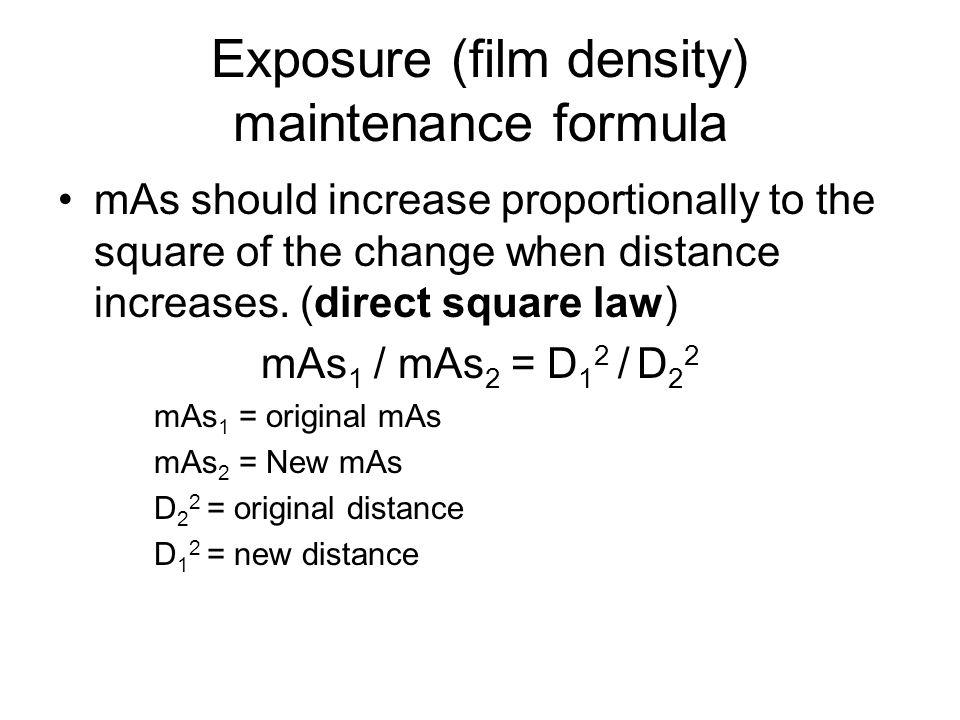 Exposure (film density) maintenance formula