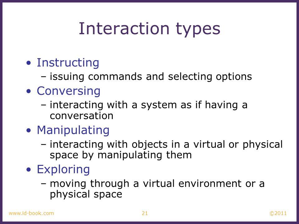 Interaction types Instructing Conversing Manipulating Exploring