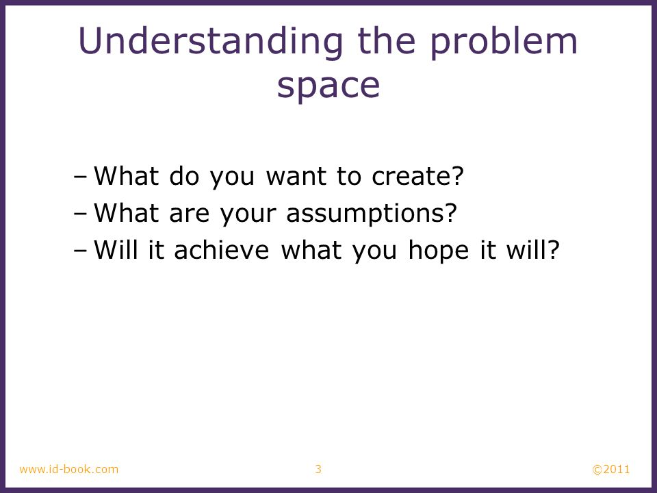 Understanding the problem space
