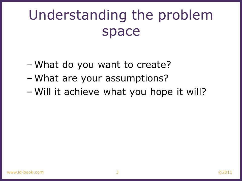 Understanding the problem space
